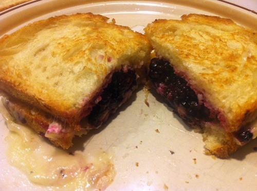 Brie and blackberry grilled cheese (I made this!)