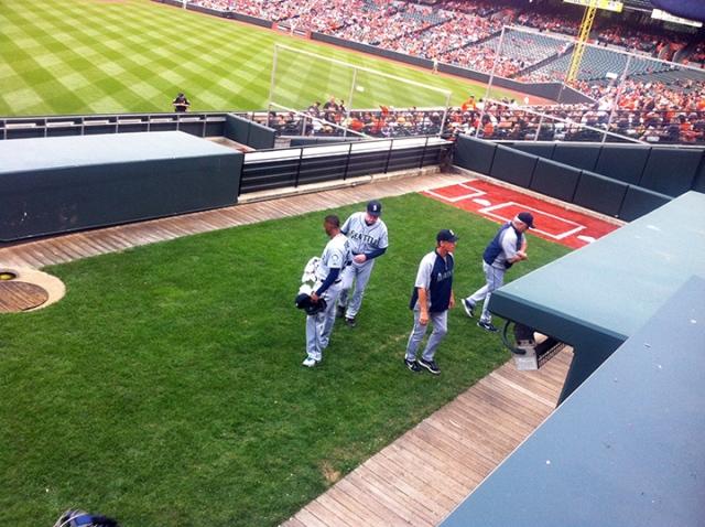 Mariners bullpen in Baltimore!