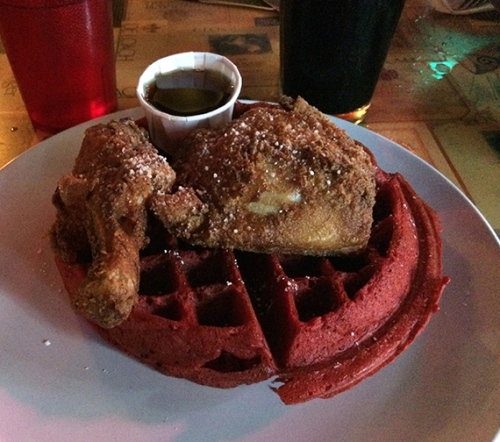Chicken and red velvet waffle!