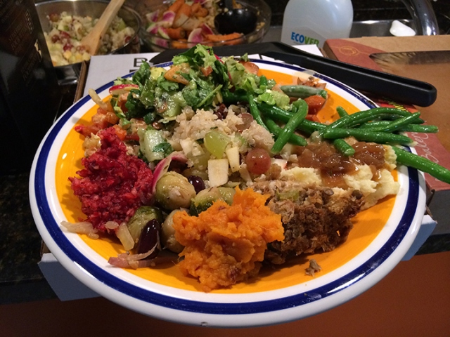 Meatless Thanksgiving Dinner! (well there's salmon)